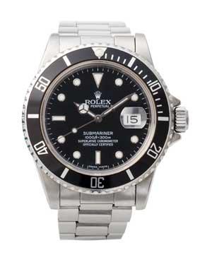 Klassische Rolex Submariner mit schwarzem Ziffernblatt