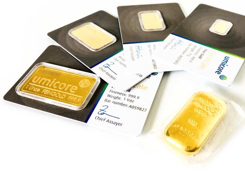 Goldbarren in verschiedenen Grössen eingeschweißt oder im Display